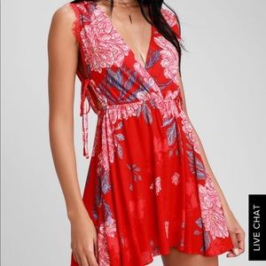 Red Free people mini dress